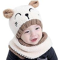 IMBSB Herbst und Winter Baby Wollmütze + Schal warme Mütze (Milky)