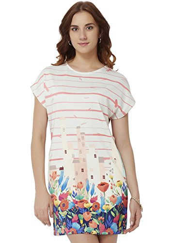 Chumbak Womens Shirt Dress (CWD008 S_Off White_S)