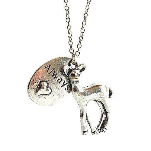 Getragen Reh (Halskette mit Aufschrift Always und Reh-Anhänger, vomFilm inspiriert, romantischer Reh-Anhänger und Herz-Anhänger in Geschenkbox)