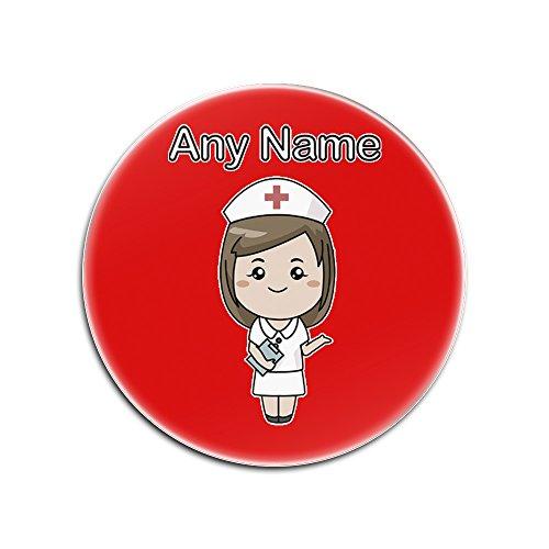Sublimations-druck-kleid (UniGift Untersetzer für Krankenschwester, weißes Kleid, glänzend (Farbe des Gesundheitsdienstes Design), personalisierbar, einzigartiges Unterlage, personalisierbar, rot, Rund)