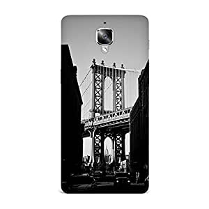 OnePlus 3 Case, OnePlus 3 Hard Protective SLIM Cover [Shock Resistant Hard Back Cover Case] for OnePlus 3 - Manhattan Bridge New York Black And White