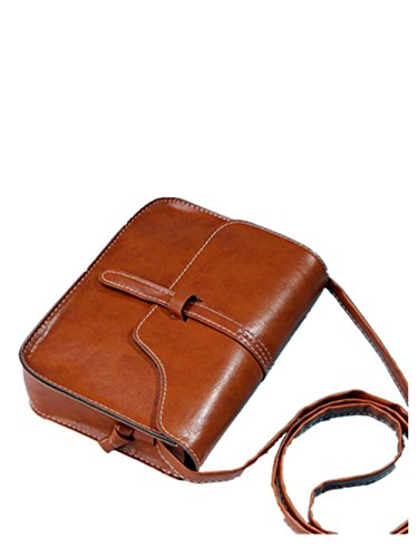 Taschen Damen,Frauen SchultertascheVintage Handtasche Leder Satchel Messenger Bag LMMVP (Brown) (- Tasche Geldbörse Brown-leder-handtasche)