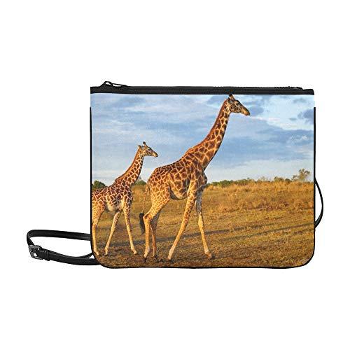 AGIRL Masai Giraffe Kalb Masai Mara Kenia Benutzerdefinierte hochwertige Nylon Slim Clutch Bag Cross-Body Bag Umhängetasche - Masai Giraffe