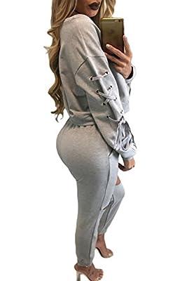 Neue Damen 2Stück grau Spitze bis Sleeve Crop Top Schwitzanzug Trainingsanzug Hose Club Wear Casual Kleidung Größe M UK 10–12EU 38–40