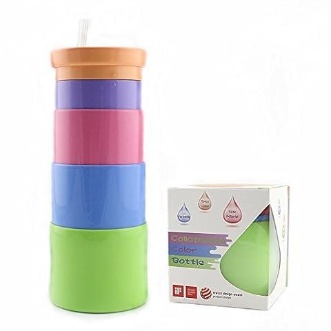 sueh Design pliable couleur bouteille Tasses de voyage 12,5oz avec housse amovible en silicone Premium et hygiénique et Twist ouvert avec couvercle