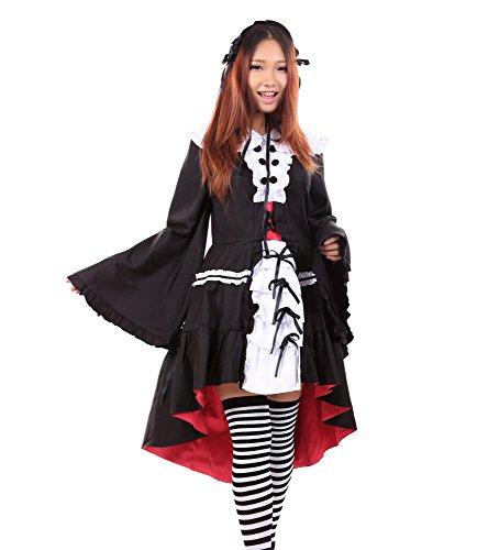De-Cos The Melancholy of Haruhi Suzumiya Nagato Yuki Gothic Dress V2 Set (Yuki Nagato Cosplay Kostüm)