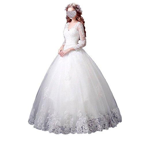 Mingxuerong Damen elegante Brautkleider mit lange Ärmel V-Ausschnitt Hochzeitskleid Vintage Ballkleider Elfenbein 46