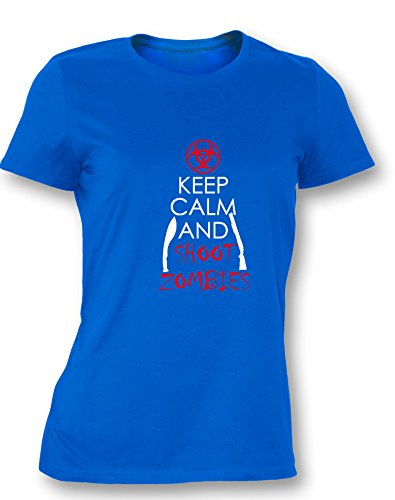 Keep Calm and Shoot Zombies - Damen T Shirt Royal / Bunt