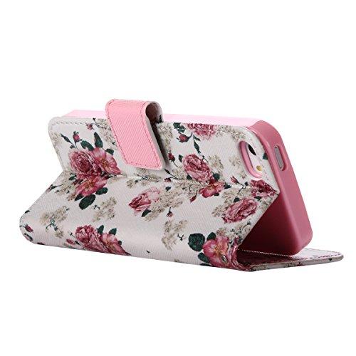 MOONCASE IPhone 5 / 5S / SE Étui, Conception de Modèle Bookstyle Étui Housse en Cuir Case à rabat Coque de Protection Portefeuille TPU Case avec Carte de Crédit Fentes Béquille pour iPhone 5 / 5S / iP YG03