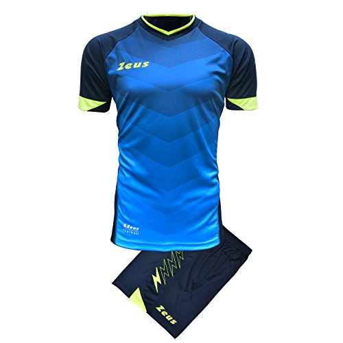 Zeus Kit Virgo Herren Trikot Shirt Hosen Klein Armel Kit Fußball Hallenfußball (M, BLAU-ROT) ROYAL-BLAU