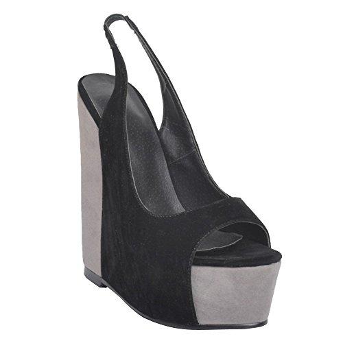 Kolnoo Femmes Handmade 15cm Wadge Talon Slingback Peep-orteil Party Soirée Pompes Chaussures Black