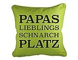 Dekokissen Papas Lieblings Schnarchplatz B x H: 40cm x 40cm Farbe: stone von Klebefieber®