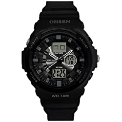 OHSEN YI-AD1216-1 LCD Date Day Stopwatch Dual Core Mens Sport Wrist Watch Black