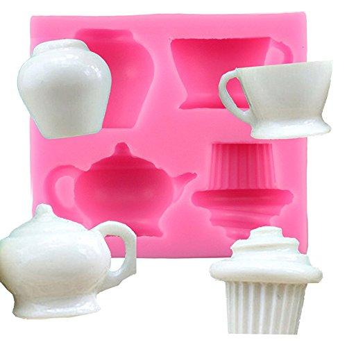 ruikey Tassen Kuchen Silikon Fondant Kuchen Dekoration Form Schokolade Pudding Biscuit Backform handgefertigt DIY Seife Form Werkzeug 7,4* 6,5* 1,8cm