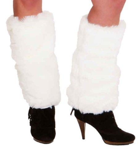 Fellstulpen in weiß Stulpen zum Kostüm an Karneval - Weiße Kostüm Eskimo