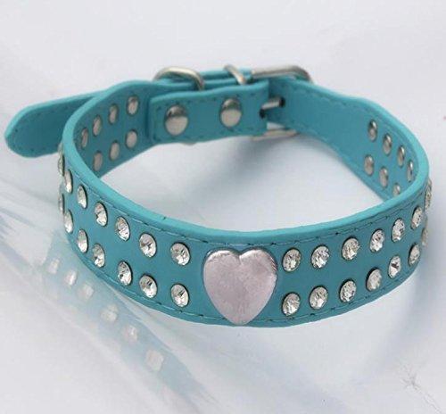Hippolo Hundehalsband, glitzernd, Herz-Design, Leder, für kleine und mittelgroße Rassen, verschiedene Farben blau XXS (Design Hundehalsband Einstellbar)