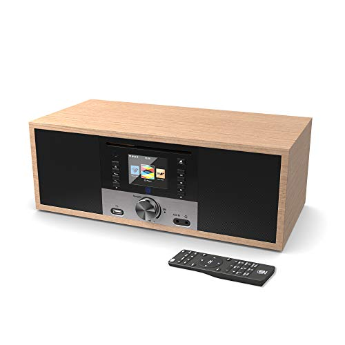 King's Internetradios WiFi-Verbindung, DAB/DAB+/FM Radio, 30W CD-Player, Bluetooth, Fernbedienung, USB Eingang/Aufladen, Aux-in, Dual Wecker und Einstellungen (Eiche)