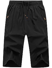 LEOCLOTHO Short Homme Grande Taille Eté Casual Elastique Cordon de serrage Sport Pantacourt