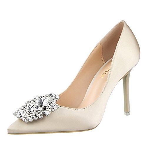XNBZW Damen Spring Mode Wildleder Einzelne Schuhe Spitzen Strass Stiletto Spitzen Flächen Mund High Heel Stiletto Arbeitsschuhe (Beige,36 EU)