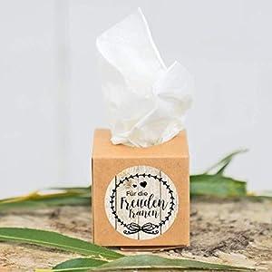 10 Stück Freudentränen Taschentuchboxen für Hochzeit, Taufe oder andere Anlässe, Maße 5x5cm, brauner/weißer Karton, individueller Aufkleber möglich