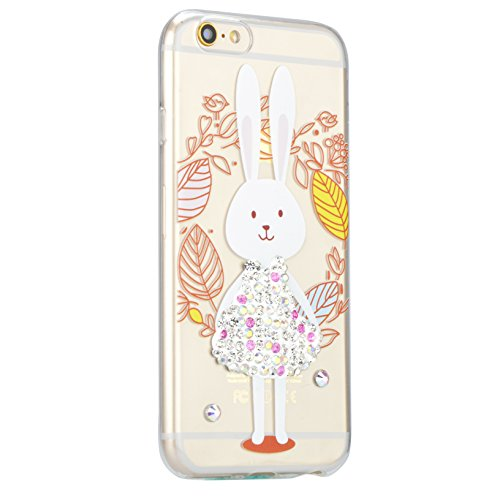 Coque iPhone 7, Coque iPhone 7 Transparent Silicone TPU Gel Soft Etui Sunroyal® Housse de Protection Motif Slim Bling Strass Case Cover Anti-Scratch Antichoc + Film Protection - Cartoon Lapin Bling TPU-02