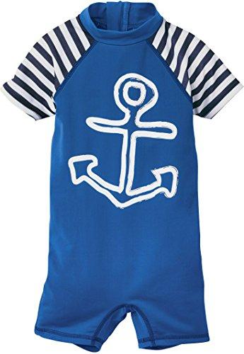 lupilu Kinder Jungen UV-Schutz-Anzug für Wasser und Strand Anker (Einteiler - Blau/Weiß, Gr. 86/92)