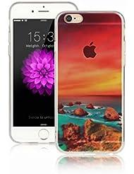 MUTOUREN iPhone 6 Plus/6S Plus Funda transparente > iPhone 6 Plus/6S Plus caja del teléfono celular < funda protectora de silicona cubierta TPU diseño funda blanda para móvil Diseño mar verde