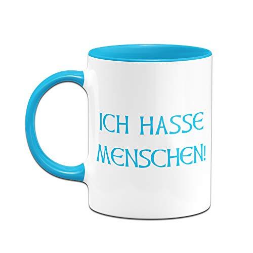 Tassenbrennerei Tasse mit Spruch Ich Hasse Menschen - Tassen mit Sprüchen lustig ALS Bürotasse auf der Arbeit (Blau) - 2