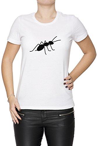 Fourmi Blanc Coton Femme T-shirt Col Ras Du Cou Manches Courtes White Women's T-shirt