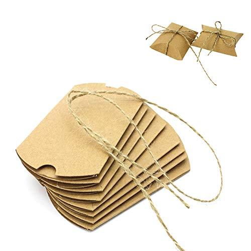 Fablcrew Bonbonnierschachteln für Bonbons, Schokolade, aus Kraftpapier, für Hochzeit, Geschenkbox, Vintage, rustikal, braun, mit Kordel -