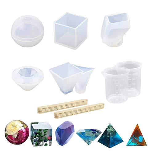 Lot de 6 moules de moulage en résine de silicone pour bijoux, boule cube en forme de pyramide pour argile polymère, résine époxy, fabrication de bijoux, tasses et bâtons