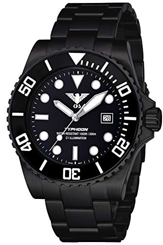 KHS Diving Wristwatch Typhoon Black Steel TYBS.SSTYB