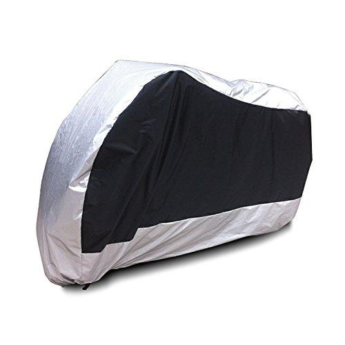 Surepromise XL Motorradabdeckung Motorradplane Outdoor Indoor 190T Wasserdicht Winterfest Motorrad Abdeckplane Abdeckung mit Tasche (XL, Mittel Silber)