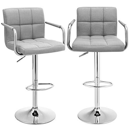 SONGMICS Barhocker 2er Set, höhenverstellbare Barstühle, Barstuhl mit Leinen-Bezug, 360° Drehstuhl, Küchenstühle mit Rückenlehne, Armlehnen und Fußstütze, verchromter Stahl, hellgrau LJB13GYX