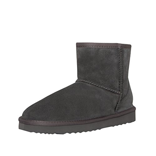SKUTARI Wildleder Damen Winter Boots | Extra Weich & Warm Gefüttert | Schlupf-Stiefel mit Stabile Sohle | Pailletten Glitzer Meliert Schlangen-Look (39 EU, Grau 4) (Fell Stiefel Wildleder)