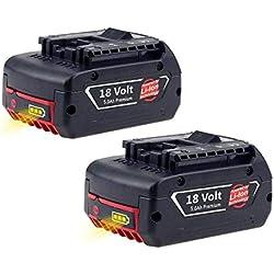 2X Reoben Remplacement pour Bosch 18V 5.0Ah Li-ion Batterie 1600A002U5 BAT621 BAT609 BAT609G BAT610G BAT618G BAT618 BAT619 BAT619G BAT620(With LED Indicator)