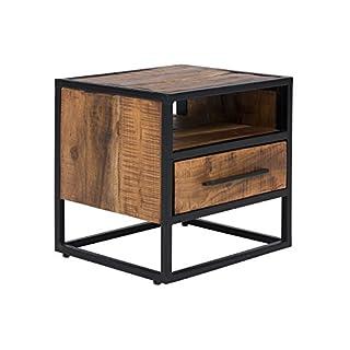 Massivum Oklahoma Nachttisch 1-Schub, Akazie / Holz, dunkel braun, 40 x 45 x 45 cm
