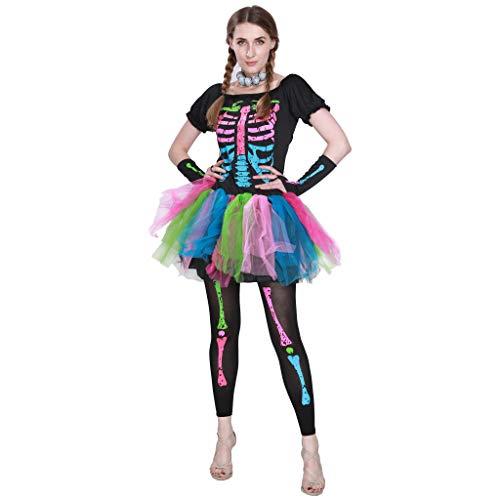Funky Kostüm Skelett - EraSpooky Neon Skelett Damen Halloween Regenbogen Kostüm Kleid Outfit