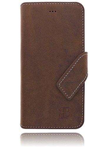 Burkley Apple iPhone 6 / iPhone 6S Hülle   Tasche   Lederhülle   Handyhülle   Ledertasche   Handytasche   Schutzhülle   Flip Cover   Book Case   bruchfester Innenschale   Kartenfach (Dunkel Braun) Cognac