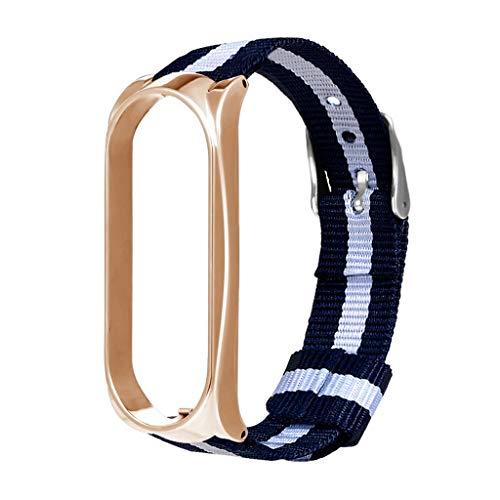 Battnot für Xiaomi Mi Band 3 Uhrenarmbänder Sport Luxus-Nylon-Metall-Bügel Bracelet Uhrenarmband Handschlaufe Handgelenksriemen für Damen Herren Einstellbar Ersatzarmband Replacement Wriststraps