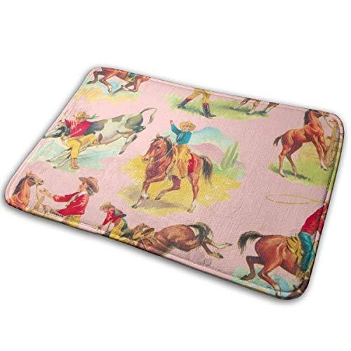 Outdoor-Fußmatten? Fahrt mit dem Cowgirl Cowboy PINK! _39 Badematte Rutschfeste, saugfähige, super kuschelige Badezimmer-Wolldecke 15,7