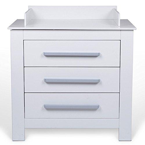 Table à langer avec trois tiroirs et bordure de sécurité