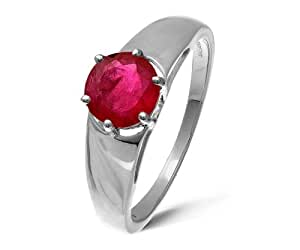 Modern 9 ct White Gold Ladies Solitaire Engagement Ring with Ruby 1.00 Carat Size J