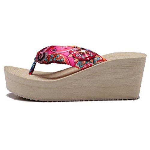 SHANGXIAN à talons hauts pantoufles de femmes Plage Wedge Sandal Beige