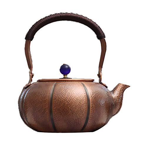 Cast Kupfer Teekannen Mit Infuser Tetsubin Teekanne Herd Wasserkocher Für Grüntee Oder Teebeutel 1,8 L, Gesundheit Retro Handwerk Kürbis