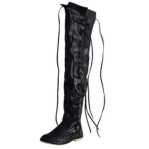 LILIHOT Klassische Runde Form Mit Niedrigen AbsäTzen FüR Damen SchnüRschuhe Bestickter Western Stiefel Frauen Stretch Faux Slim Hohe Overknee High Heels Schuhe (Western Stiefel Klassische)