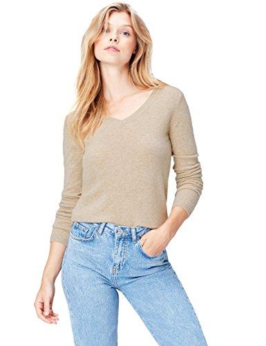 find. Pullover Damen gerippt, aus Kaschmir mit V-Ausschnitt und Rippenbündchen, Beige (Chinchilla Gp-6007), 44 (Herstellergröße: XX-Large)