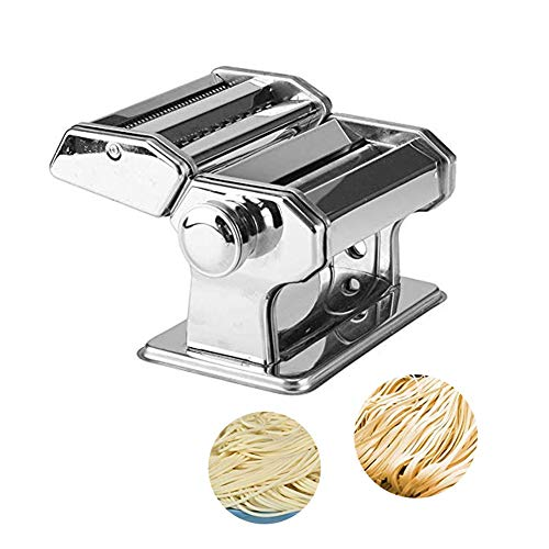CRJT Shop Manual Pasta Machine, Heavy Duty Household Stainless Steel Small Noodle Cutter for Make Fresh Homemade Fettuccine Spaghetti Lasagne Pasta Maker (Color : Silver)