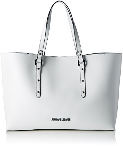Armani Jeans Damen 9221717p757 Shopper, 10x26x38 cm Weiß (BIANCO 00010)