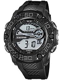 Calypso–Reloj digital unisex con LCD Pantalla Digital Dial y correa de plástico en color negro k5691/8